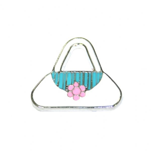 1pcex21*18mm Rhodium plated long string white with pink daisy handbag enamel charm - SD03 - CHE1094